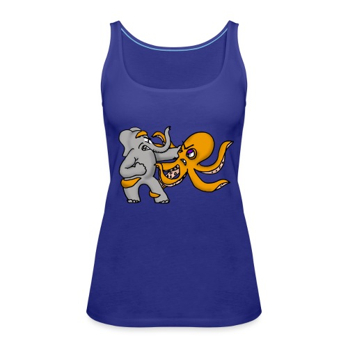 Elephant vs. Octopus T-Shirt - Women's Premium Tank Top