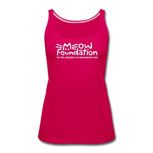 MEOW Foundation White Logo Tagline - Women's Premium Tank Top
