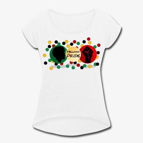 Melanin Pride Logo with dots - Women's Roll Cuff T-Shirt
