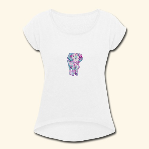 Nice elephant figure - Women's Roll Cuff T-Shirt