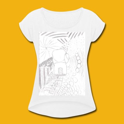 Messy Zentangle Boxing glove (TCOU) - Women's Roll Cuff T-Shirt