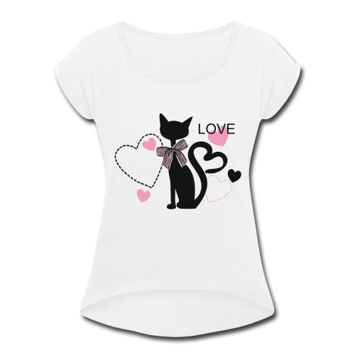 love cat shirt - Women's Roll Cuff T-Shirt