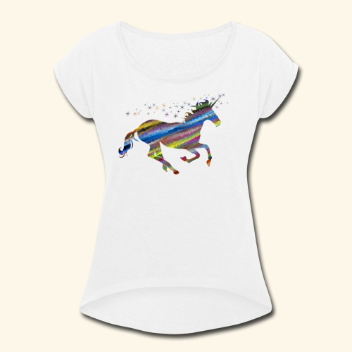 Multi color Unicorn - Women's Roll Cuff T-Shirt
