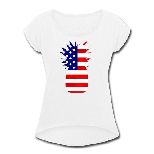 Pineapple United States Flag - Women's Roll Cuff T-Shirt