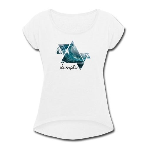 Wave logo(Simple) - Women's Roll Cuff T-Shirt