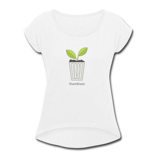 ShareWaste logo - Women's Roll Cuff T-Shirt