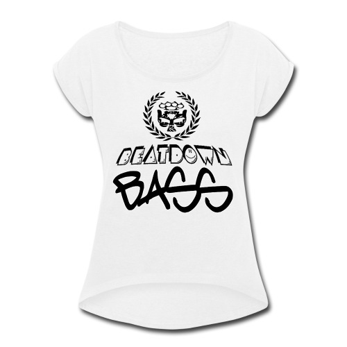 BEATDOWN BLACK LOGO - Women's Roll Cuff T-Shirt