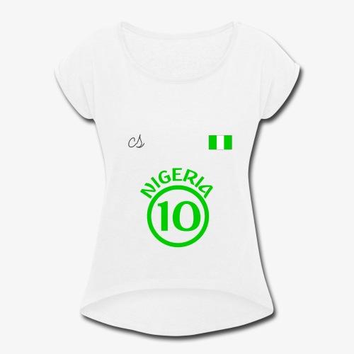 Nigerian Soccer Fan T-Shirt - Women's Roll Cuff T-Shirt