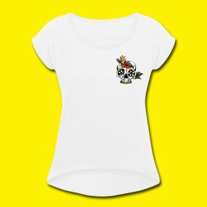 Candy Skull - Women's Roll Cuff T-Shirt