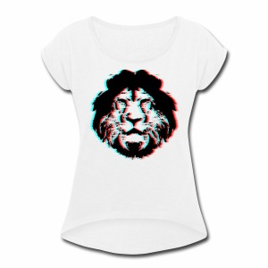 3D Lion Face - Women's Roll Cuff T-Shirt
