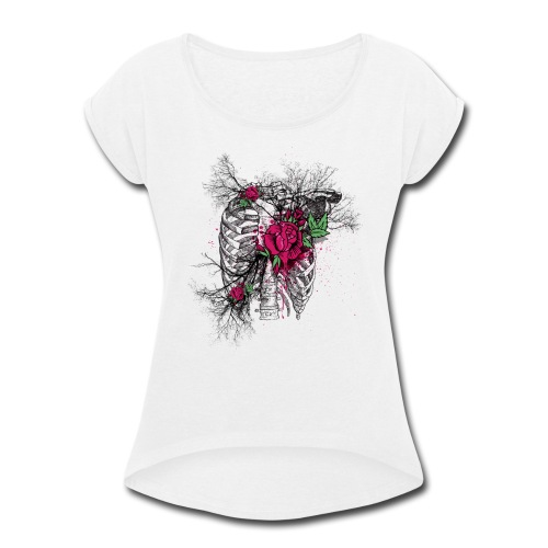 Skeleton Rose - Women's Roll Cuff T-Shirt