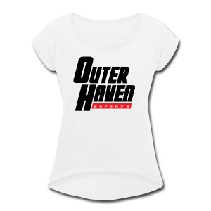 Outer Haven Black Large Logo - Women's Roll Cuff T-Shirt