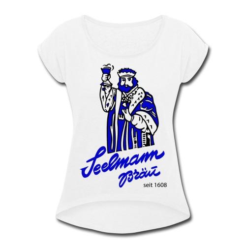 Brewery Gambrinus logo blue - Women's Roll Cuff T-Shirt