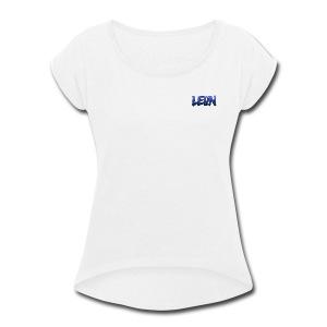 Blue Leon White Tee - Women's Roll Cuff T-Shirt