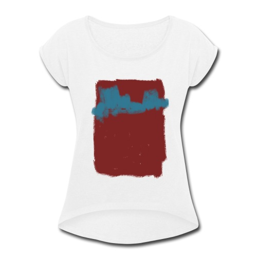 Scribble Blue Red Abstract T-shirt - Women's Roll Cuff T-Shirt