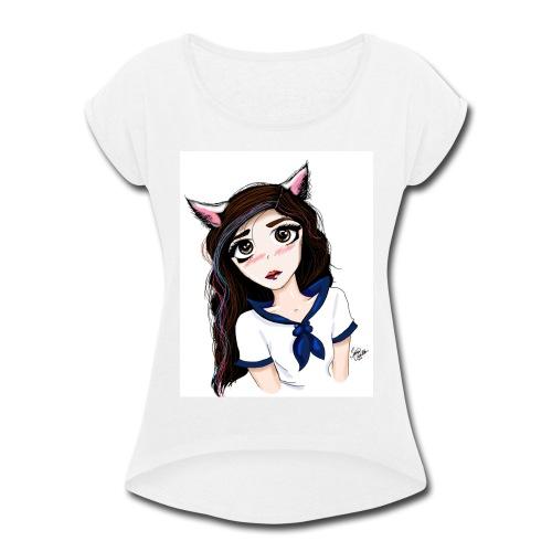 Catgirl - Women's Roll Cuff T-Shirt
