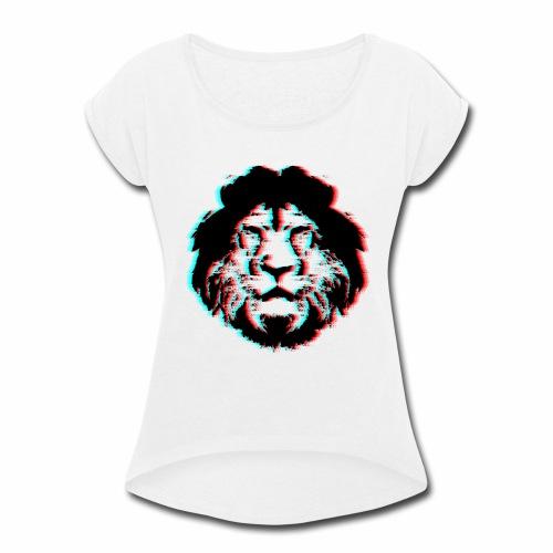 3D Lion Face - Women's Roll Cuff T-Shirt