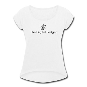 The Digital Ledger logo Black - Women's Roll Cuff T-Shirt