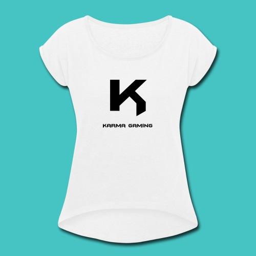 karma_gaming_logo - Women's Roll Cuff T-Shirt