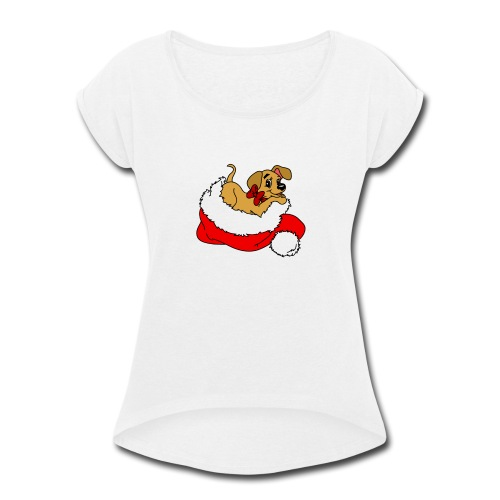 dog_xmas_color - Women's Roll Cuff T-Shirt