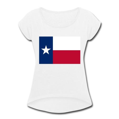 2000px Flag of Texas svg - Women's Roll Cuff T-Shirt