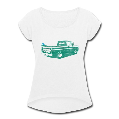 Vintage Surf Truck2 - Women's Roll Cuff T-Shirt