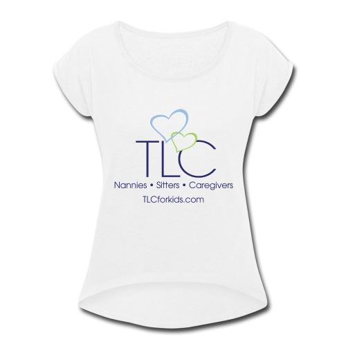 TLC color logo for WHITE SHIRTS ONLY - Women's Roll Cuff T-Shirt