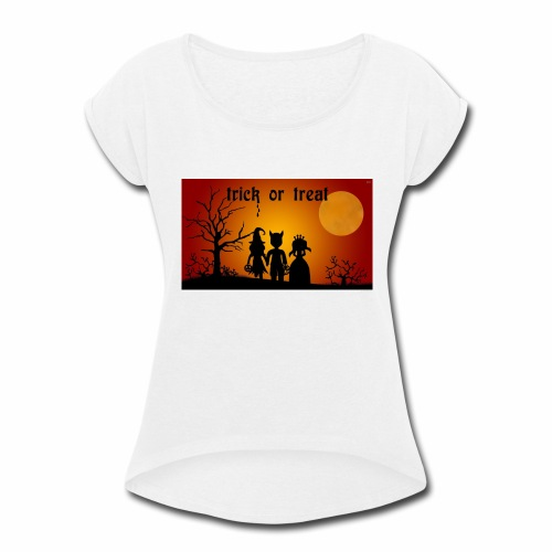 Wallpaper trick or treat Happy Halloween hd - Women's Roll Cuff T-Shirt