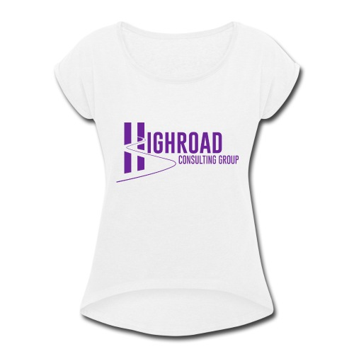 Highroad Logo Overlay Purple - Women's Roll Cuff T-Shirt