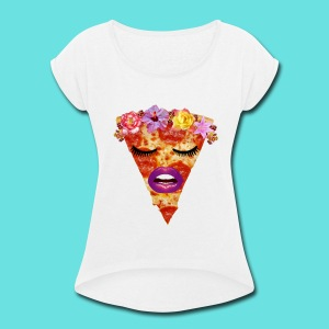DeLish Pizza Slice - Women's Roll Cuff T-Shirt