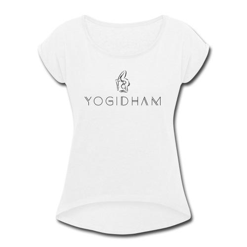 Yogidham Dark Logo - Women's Roll Cuff T-Shirt