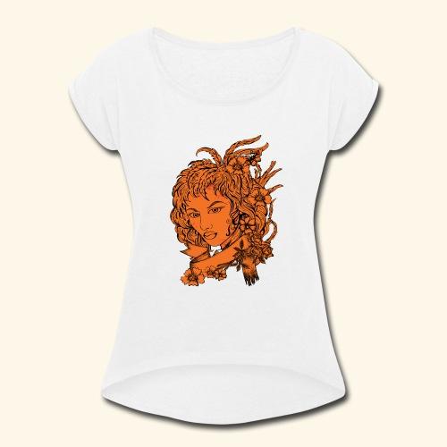 Women Face - Women's Roll Cuff T-Shirt