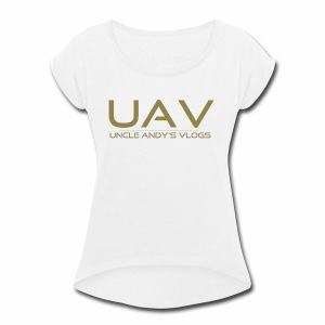 Uncle Andy's Vlogs Merch (gold) - Women's Roll Cuff T-Shirt