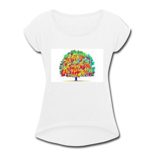 colorful tree - Women's Roll Cuff T-Shirt