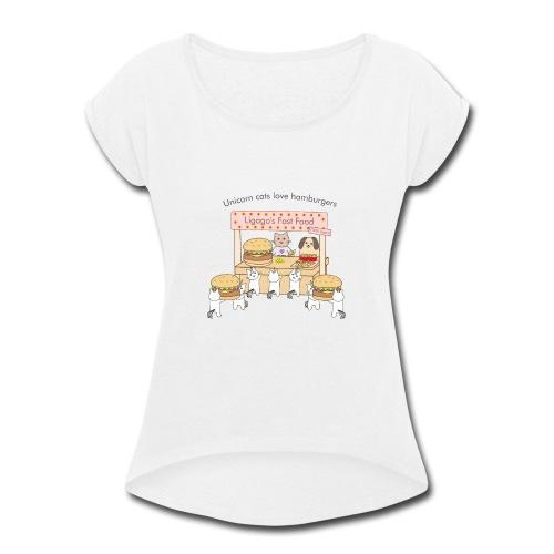 At the market - Women's Roll Cuff T-Shirt
