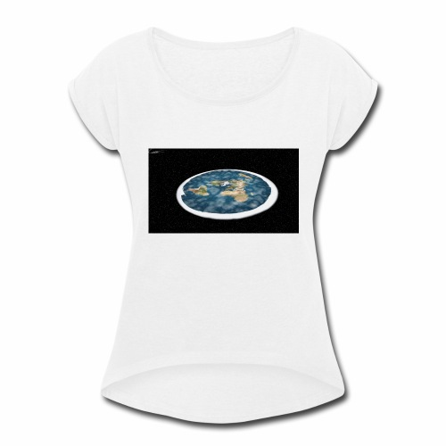 Flat Earth From Space - Women's Roll Cuff T-Shirt