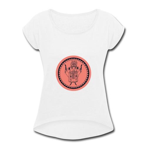 Tiki head campfire - Orange - Women's Roll Cuff T-Shirt