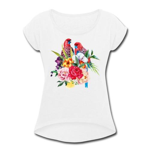 Luminous Sweet Tropical Toucan Watercolor Print - Women's Roll Cuff T-Shirt