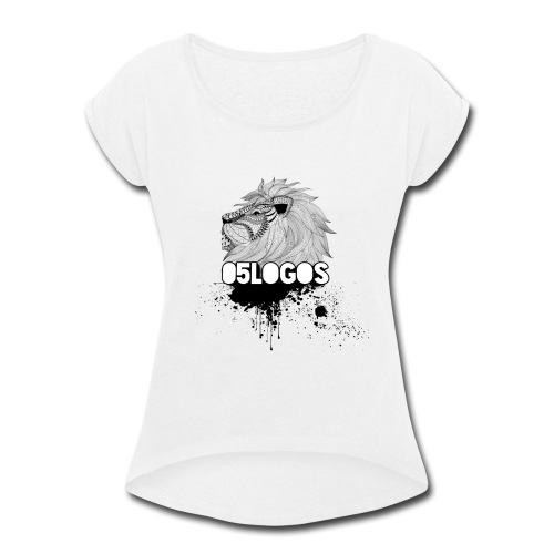 05Logos With Lion - Women's Roll Cuff T-Shirt