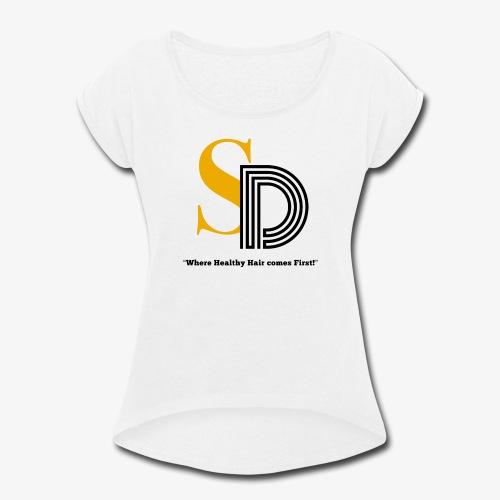 SD striped logo - Women's Roll Cuff T-Shirt