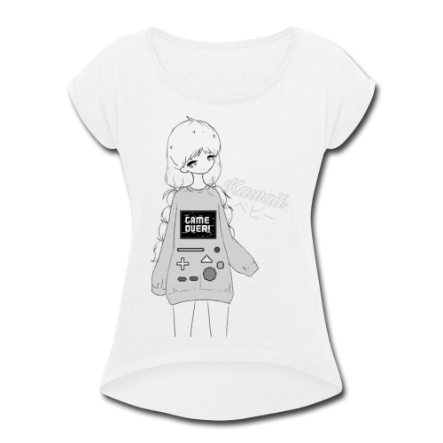 Game Over Kawaii - Women's Roll Cuff T-Shirt