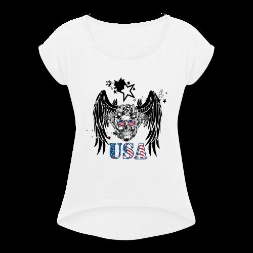 USA Guardian Angel - Women's Roll Cuff T-Shirt