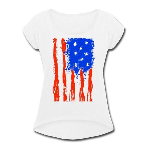 US Flag Flowing Stripes - Women's Roll Cuff T-Shirt