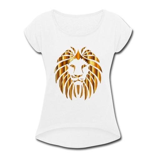 Gold Lion Design - Women's Roll Cuff T-Shirt