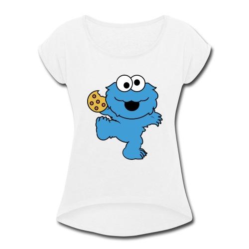 Dancing cookie monster mug - Women's Roll Cuff T-Shirt