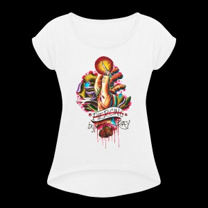 piercing hand - Women's Roll Cuff T-Shirt