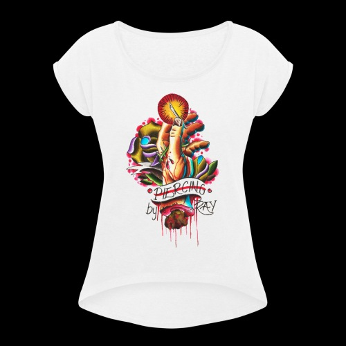 piercing hand - Women's Roll Cuff T-Shirt