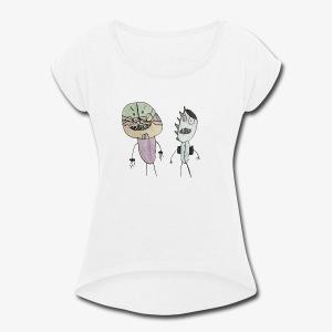 Monster Best Friends - Women's Roll Cuff T-Shirt