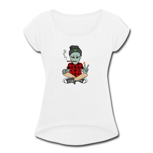 NUGZ THE ALIEN Mascot 4 TOO HIGH CLUB CLOTHING Co. - Women's Roll Cuff T-Shirt
