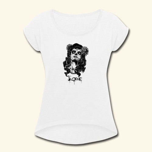 santa muerte - Women's Roll Cuff T-Shirt
